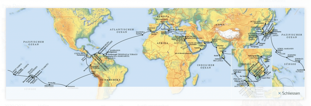 MS Amadea Weltreise 2020: Route
