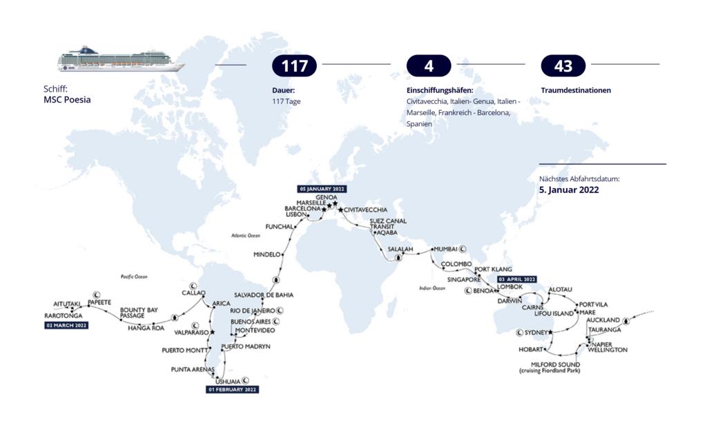 MSC Weltreise 2022: Route