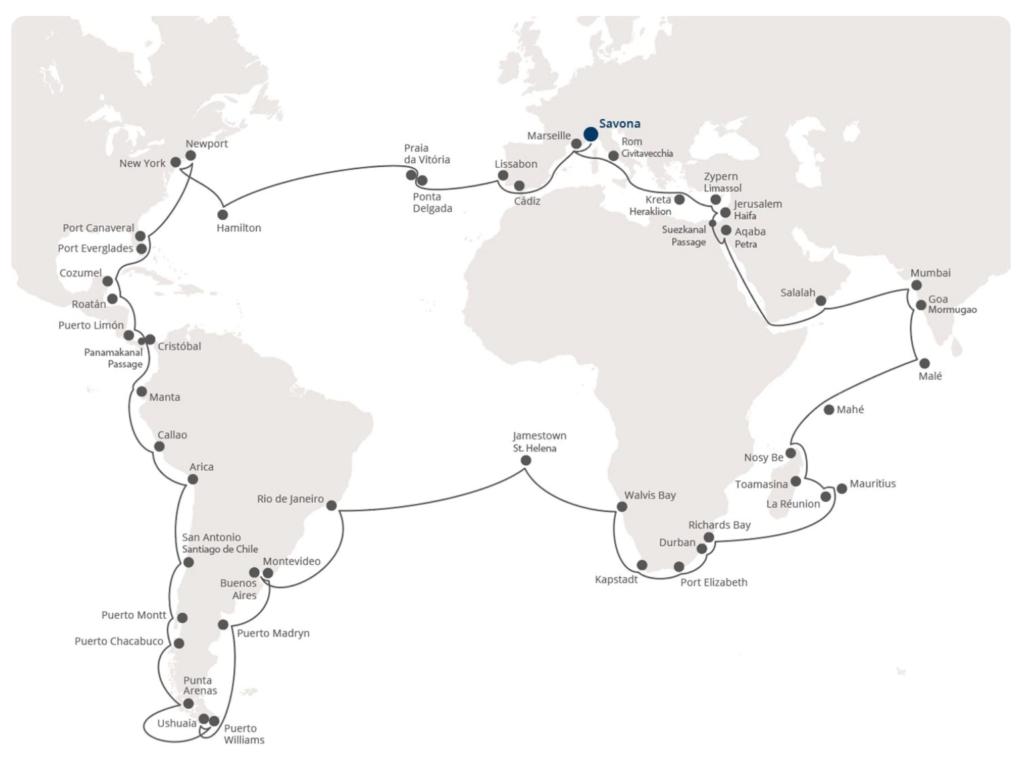 Costa Kreuzfahrten Weltreise 2021: Route