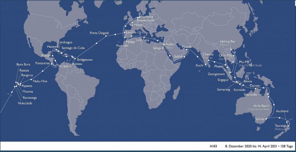 MS Astor Weltreise 2020: Route