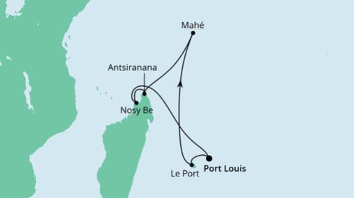 AIDAblu Route: Mauritius, Seychellen und Madagaskar