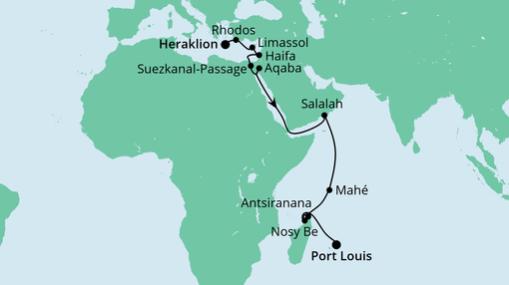 AIDAblu Route: Von Kreta nach Mauritius