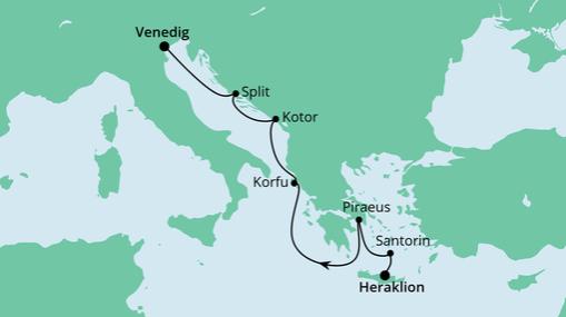 AIDAblu Route: Von Kreta nach Venedig