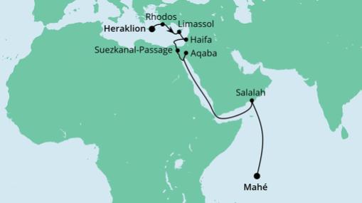 AIDAblu Route: Von Kreta zu den Seychellen