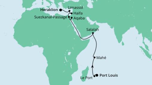 AIDAblu Route: Von Mauritius nach Kreta