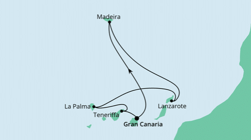AIDAmar Route: Kanaren & Madeira mit La Palma