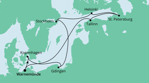 AIDAmar Route: Ostsee