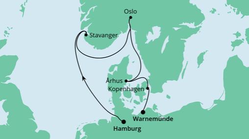 AIDAmar Route: Skandinavische Städte von der Nordsee zur Ostsee