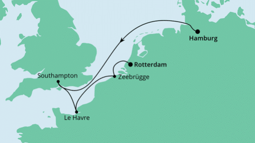 AIDAmar Route: Von Hamburg nach Rotterdam