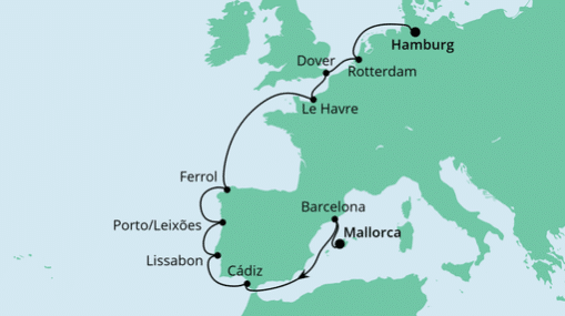 AIDAmar: Route von Mallorca nach Hamburg 4