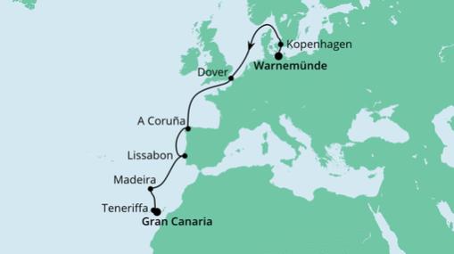 AIDAmar Route: Von Warnemünde nach Gran Canaria