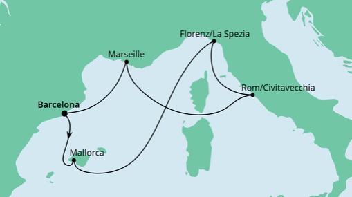 AIDAnova Route: Mediterrane Schätze