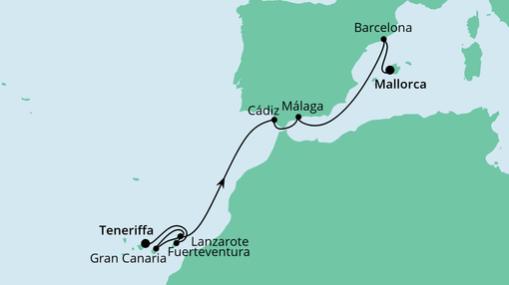 AIDAnova Route: Von Teneriffa nach Mallorca 3