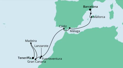 AIDAnova Route: Von Barcelona nach Teneriffa