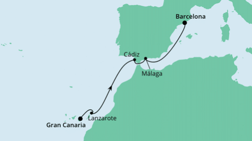 AIDAnova Route: Von Gran Canaria nach Barcelona