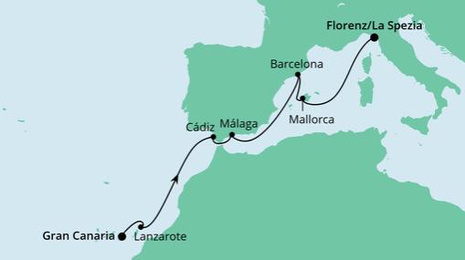 AIDAnova Route: Von Gran Canaria nach La Spezia