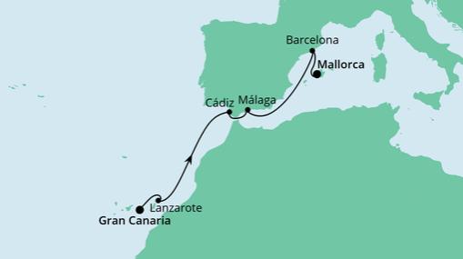 AIDAnova Route: Von Gran Canaria nach Mallorca 4