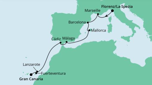 AIDAnova Route: Von La Spezia nach Gran Canaria