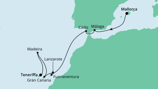 AIDAnova Route: Von Mallorca nach Teneriffa