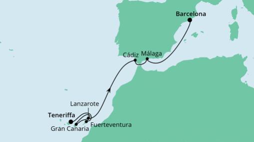AIDAnova Route: Von Teneriffa nach Barcelona 2
