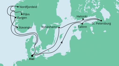 AIDAprima Route: Norwegen & Ostsee