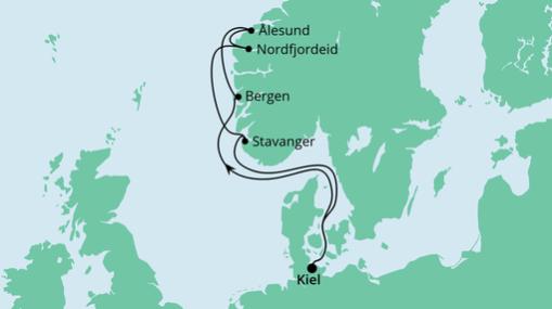 AIDAprima Route: Norwegens Küste