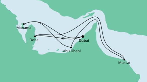 AIDAprima Route: Orient ab Dubai mit Katar