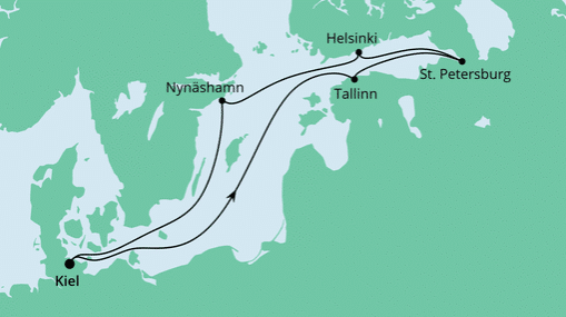 AIDAprima Route: Ostsee ab Kiel