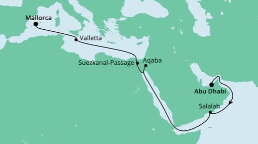 AIDAprima: Route von Abu Dhabi nach Mallorca