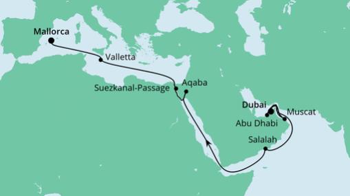 AIDAprima Route: Von Dubai nach Mallorca 2