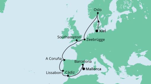AIDAprima Route: Von Kiel nach Mallorca
