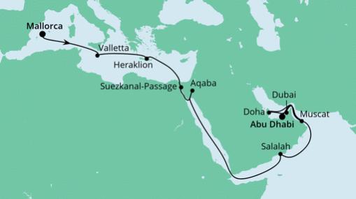 AIDAprima: Route von Mallorca nach Abu Dhabi