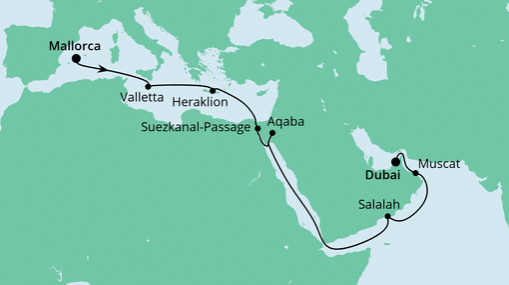 AIDAprima: Route von Mallorca nach Dubai
