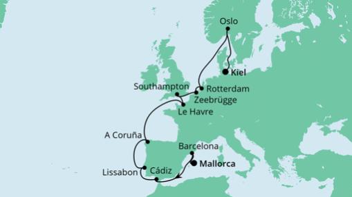 AIDAprima Route von Mallorca nach Kiel 2