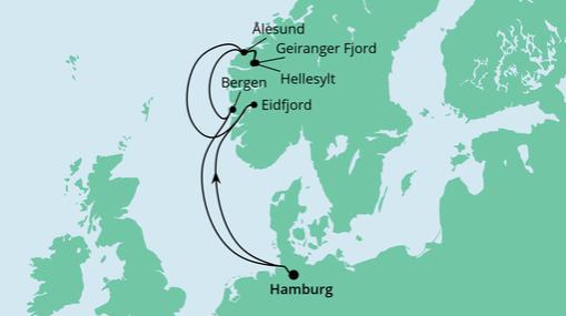 AIDAsol Route: Norwegens Fjorde ab Hamburg
