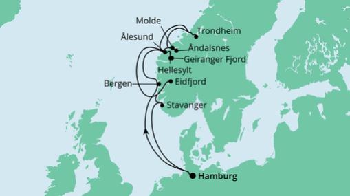 AIDAsol Route: Norwegens Fjorde mit Geirangerfjord