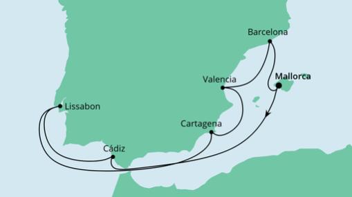AIDAsol Route: Spanien mit Lissabon