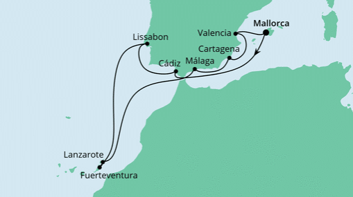 AIDAsol Route: Spanien, Portugal & Kanaren