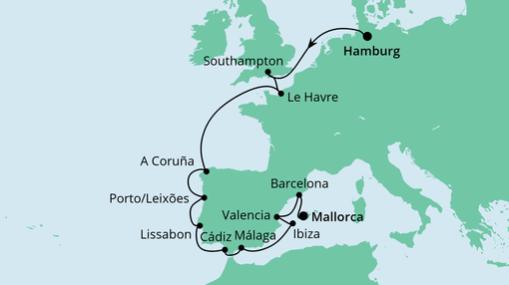 AIDAsol Route: Von Hamburg nach Mallorca 2