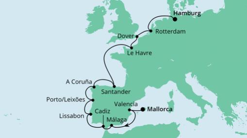 AIDAsol Route: Von Mallorca nach Hamburg 1