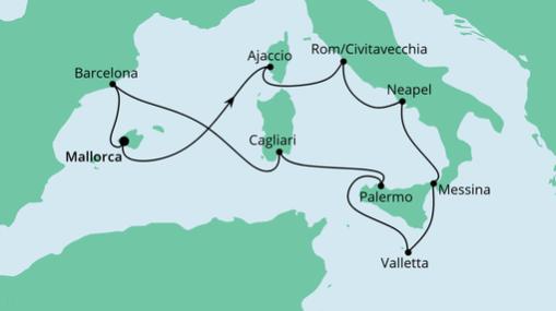 AIDAstella Route: Italien & Mittelmeerinseln