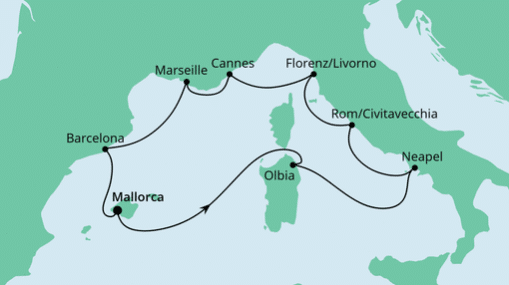 AIDAstella Route: Mediterrane Highlights