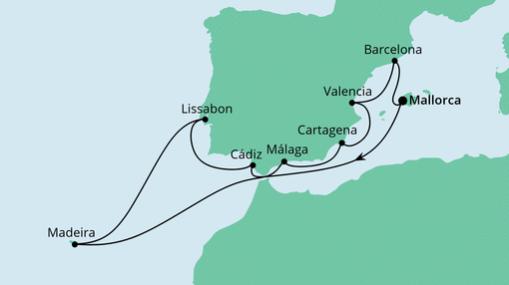 AIDAstella Route: Spanien, Portugal & Madeira