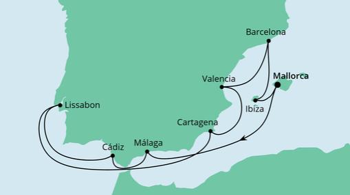 AIDAstella Route: Spanien & Portugal mit Ibiza