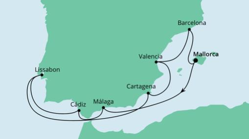 AIDAstella Route: Spanien & Portugal mit Málaga