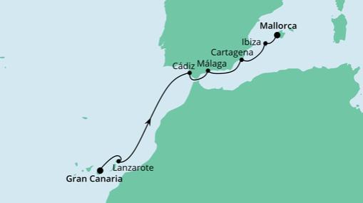 AIDAstella Route: Von Gran Canaria nach Mallorca