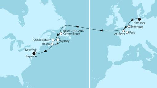 Mein Schiff 1 Route: Hamburg bis New York