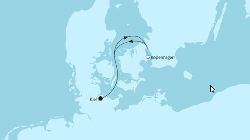Mein Schiff 1 Route: Kurzreise mit Kopenhagen