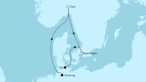 Mein Schiff 1 Route: Kurzreise mit Oslo & Kopenhagen
