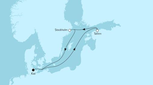Mein Schiff 1 Route: Kurzreise mit Tallinn & Stockholm II